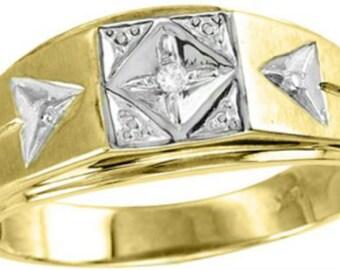 Mens Diamond Ring 14K Yellow or White Gold Ring