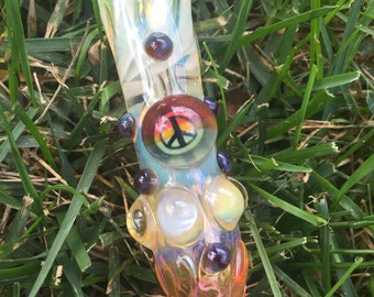 PEACE glass piece fumed one hitter.  Hand blown peace Millie with highlights. Color changing.  Flat mouth piece