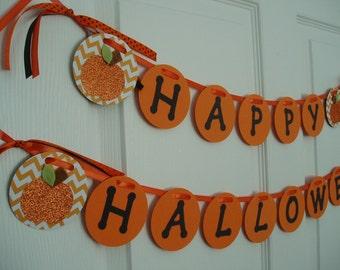 Happy Halloween Banner, Halloween Decor, Paper Halloween Banner, Halloween Pumpkin Bunting, Halloween Decoration, Pumpkin Garland, Orange