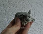 Felt rabbit, super tiny, felted gray rabbit, felt toy, soft sculpture, felt animal, pet miniature, natural wool toy - made  to order