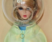 Braniff Airways style helmet in 1/6th scale for 12 inch fashion dolls.