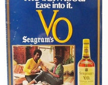 ON SALE 1970's Seagrams VO  Whiskey Sign, The V.O. Mood Ease into it,  Vintage Tin Sign Ad Liquor Store  Bar Man Cave