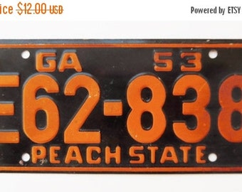 ON SALE Vintage, Georgia, 1953, Wheaties, Bike Plate, Bicycle, License Plate, Cereal Premium, Peach State, Miniature, Tin, Embossed, Collect