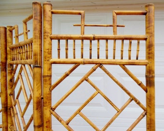 Vintage Asian Three Panel Room Divider Chinoiserie Chippendale Bamboo Screen Mid Century Privacy Screen, Folding Screen, Pegged Joinery