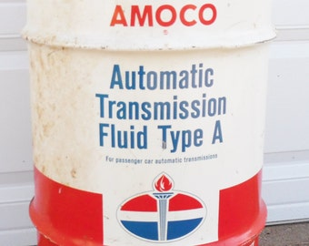 Vintage AMOCO Automatic Transmission Fluid  Type A  Barrel, American Oil Co.  Petroliana trash can
