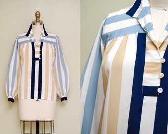 Vintage Striped Pop-over Blouse with Long Billowy Sleeves / 80s Liz Claiborne Top / Small