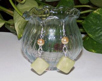 Green Jade Gemstone Earrings, Women's Earrings, Green Dangle Earrings