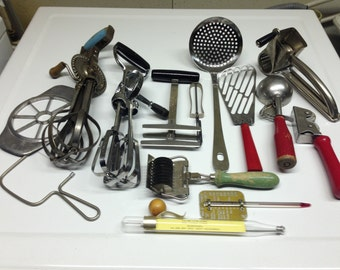 Eclectic Collection of unique vintage kitchen tools full lot