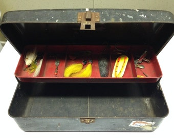 Vintage Metal Tackle Box with misc fishing lures