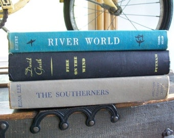 1950's Stack of Books - The Southerners, River World-Wildlife of the Mississippi, Fire on the Wind