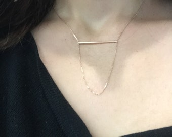 14k rose gold bar and chain necklace