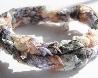 Large Crocheted Bracelet or Ponytail Wrap Pink, Purple, Grey, Pearly White