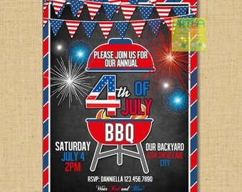 4th of July Invitation, 4th of july BBQ Invitation, Independence day invitation, 4th of july fireworks invitation, July 4th BBQ Fireworks in