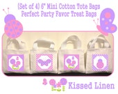 """Little Girl Flowers Butterflies Ladybugs Birthday Party Treat Favor Gift Bags Mini 6"""" White Canvas Totes Children Kids Guests - Set of 4"""