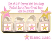 """Personalized Pink Gold Star Birthday Party Favor Bags Pink Gold Stars Treat Gift Bags Mini 6"""" White Canvas Totes Kids Party Bags Set of 4"""