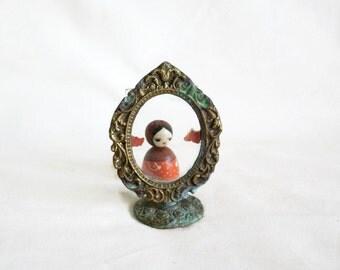 Mini picture FRAME vintage brass ornate art nouveau scrolls. Verdigris. STAND & GLASS backing. For tiny photo. Dresser display, shelf decor