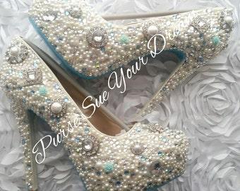 Custom Vintage Chic Inspired Pumps Heels - Swarovski Crystal Heels - Pearls and Rhinestone Heel Shoes - Wedding Bridal Shoes