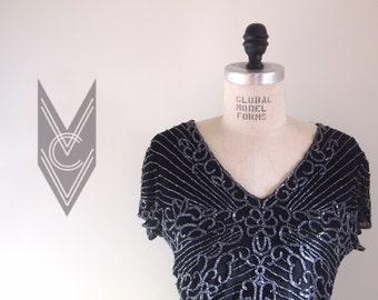 vintage 80s black BEADED SPARKLY v-neck blouse