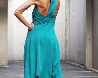 NEW Collection AW 2015 Sexy  Green Polyviscose  Drop Crotch Jumpsuit / Party Extravagant Loose Jumpsuit  Extravagant Back by AAKASHA A19349
