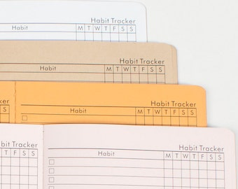 HABIT TRACKER with note Journal Travelers notebook Insert Midori, Fauxdori style refill - 5 sizes and 19 solid colors[N028]