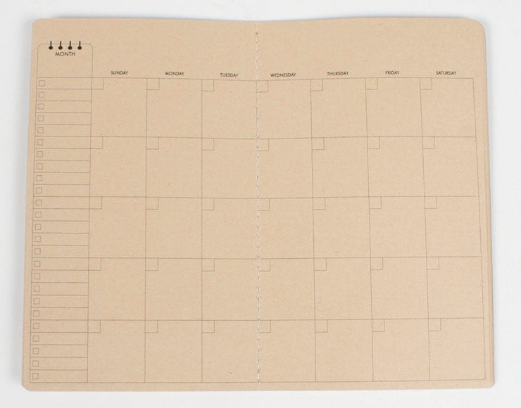 Monthly Calendar Notebook : Monthly calendar travelers notebook insert midori fauxdori