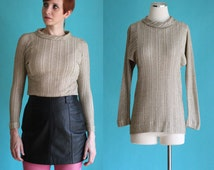 Vintage 60s Metallic Gold Shirt - Metallic Sweater - Ribbed Sweater - Gold Blouse - Funnel Neck Knit Top - Glam Rock Clothing - Size Small