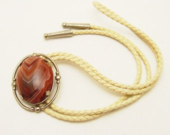 Large Agate Bolo Vintage Mens Jewelry H755
