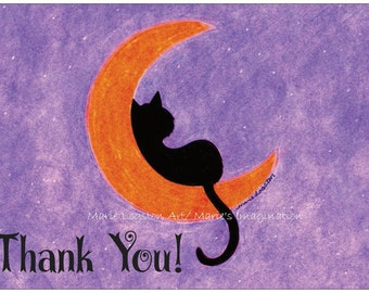 Black Cat/ Moon Thank You Cards - Greeting Cards - Note Cards. Includes White Envelopes. Blank Inside.