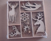 Wood Die Cuts - Laser Cut - Reindeer and Antlers - Winter Woods - Unfinished Embellishments - Wooden Box - 35 pcs