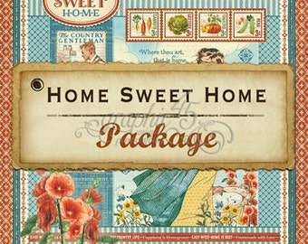 Graphic Home Sweet Home - Paper Pack - Inspiration Kit - Scrapbooking - Cards - Mini Albums - Vintage Images - Quilting - Veggies - Chickens