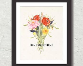 Watercolor Home Sweet Home Art Print, Quote Art, Botanical Art Print, Poster,Typography Art, Watercolor Print, Word Art, Fall Art Print