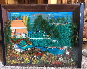 Vintage Folk Art Farm Scene Diorama Large Under Glass