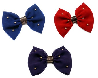 Chiffon Bow With Gold Pearls- Red- Navy Blue- Plum Purple- Srunchie or Clip-