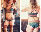 Custom made to order Sitara SleepyTime Panty and Bralette Set Organic Hemp and cotton dyed with herbs