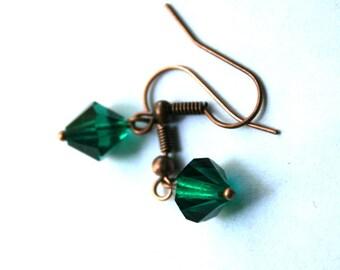 10 mm Emerald Green Swarovski Crystal Dangle Earrings