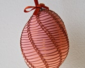 Handmade Copper Wire Wrapped Easter Eggs - Pysanky - Rose