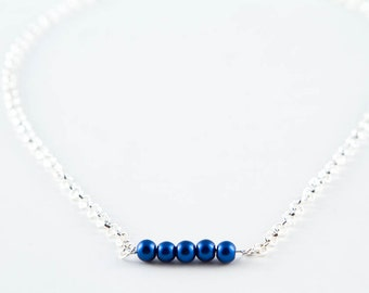 Cobalt Blue Bead Bar Necklace, Simple Glass Pearl Minimalist Jewelry, Layered Necklace, 18 inch, 20 inch and 22 inch Lengths