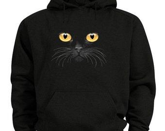 Black cat hoodie yellow eyed cat sweatshirt