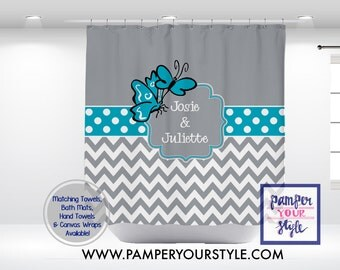 Personalized Butterfly Shower Curtain - Turquoise and Gray Bathroom Decor