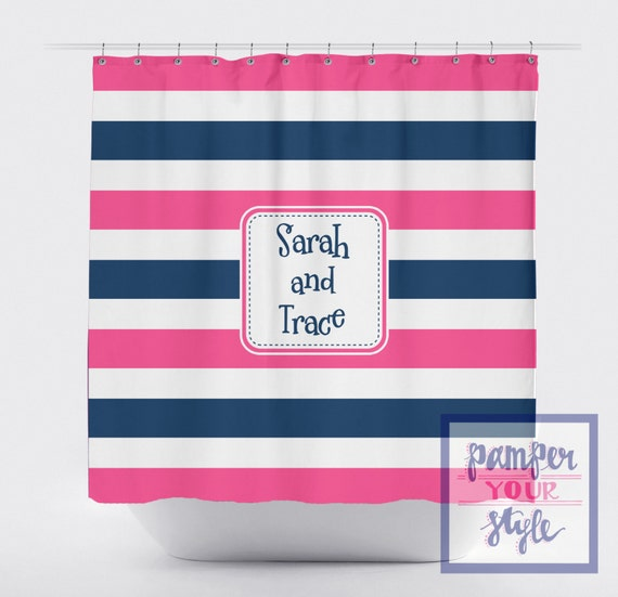 Stripe Pink And Blue Shower Curtain Sibling Bathroom