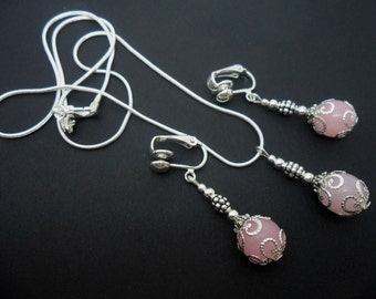 A hand made pink jade beads   necklace and  clip on earring set.