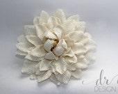 White Flower Hair Clip - Flower Hair Clip - White Burlap Flower Hair Clip - Wedding Hair Clip - White Wedding Hair Clip - Burlap Hair Clip