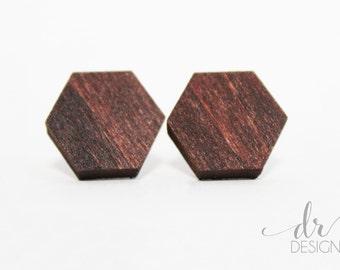 Hexagon Stud Earrings - Laser Cut Wood Hexagon earring studs - lasercut wooden earrings - wood studs - hexagon earrings - hexagon studs