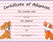 Dog and Cat Adoption Certificate Digital File