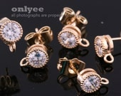 2pcs-8.5mmX6mm Bright Gold plated Brass 5mm CZ, zirconia earring, 925 sterling silver post Earring-Clear(K1036G)
