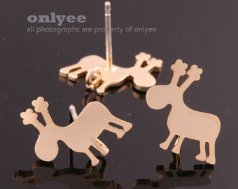 1pair/2pcs-12mmX13mm Matt Gold Plated over Brass Body with 925 Sterling Silver Post,Mini deer Earring Findings(K872G)
