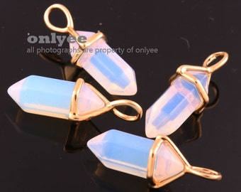 2pcs-25mm x 8mmGold plated Brass pointy Opal Stone (synthetic)Bullet charms with a bail, crystal stone pendant-Opal stone(M390G-C)