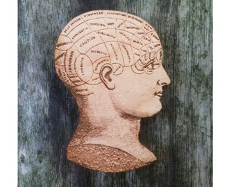 Phrenology Head - Anatomical Jewellery - Wooden Brooch