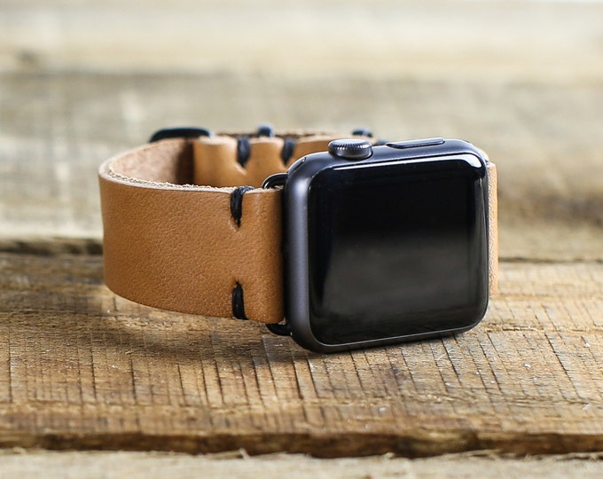 Leather Apple Watch Band // Horween Leather Watch Strap in Natural Essex // Tan Leather // Slide Hardware