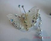 Lacy Plastic openwork Butterfly Sweater Guard Aurora Rhinestones Vintage & Pat #
